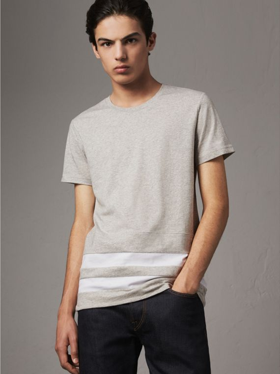 Striped Hem Cotton T-shirt in Pale Grey Melange