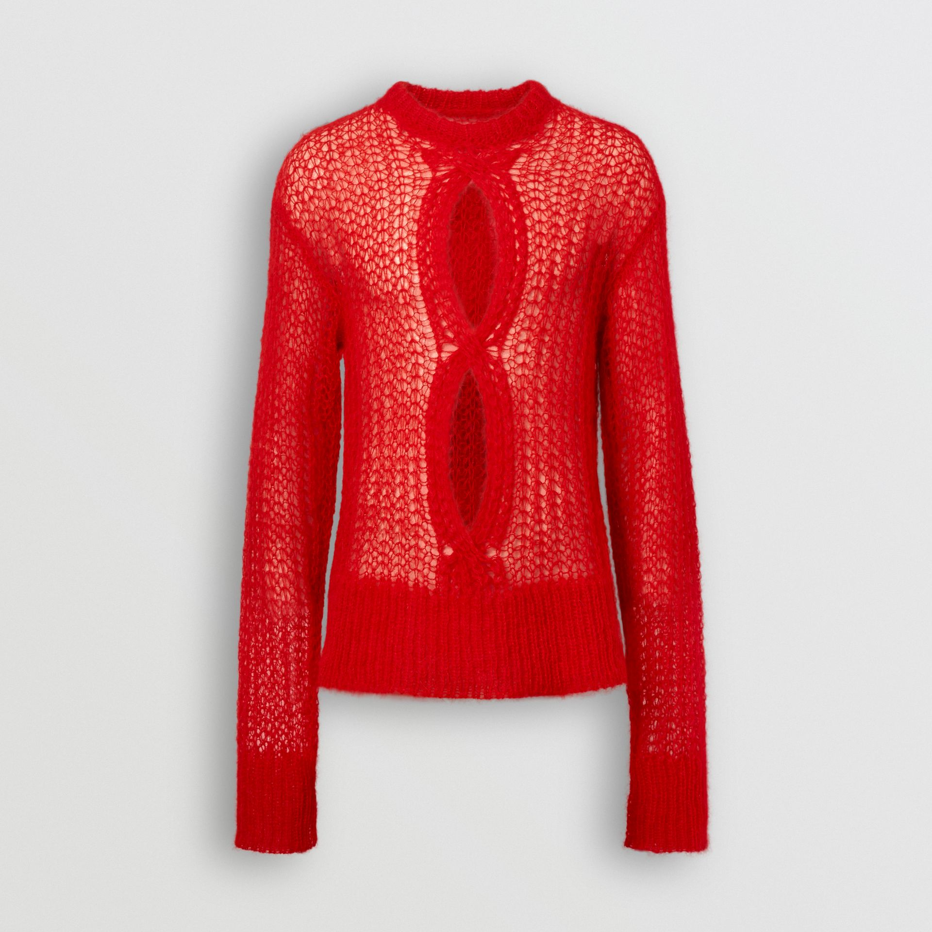 Open Knit Mohair Wool Blend Sweater in Bright Red | Burberry - gallery image 3