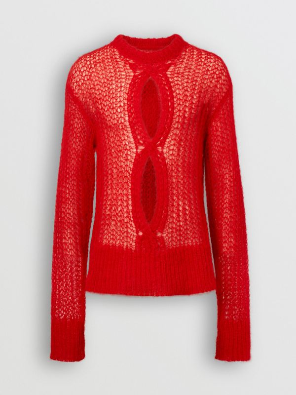 Open Knit Mohair Wool Blend Sweater in Bright Red | Burberry - cell image 3