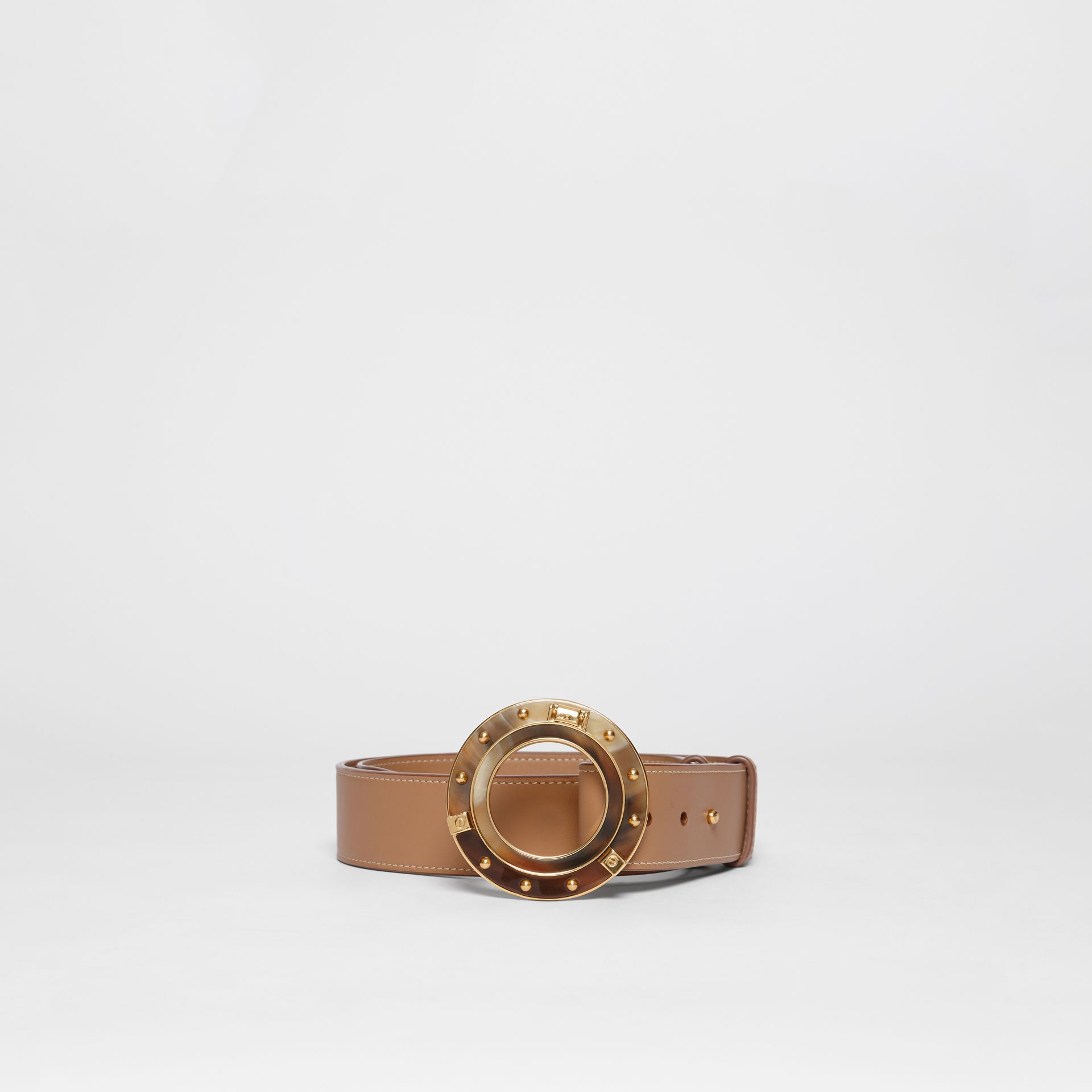 Porthole Buckle Leather Belt in Light Camel - Women | Burberry - gallery image 2