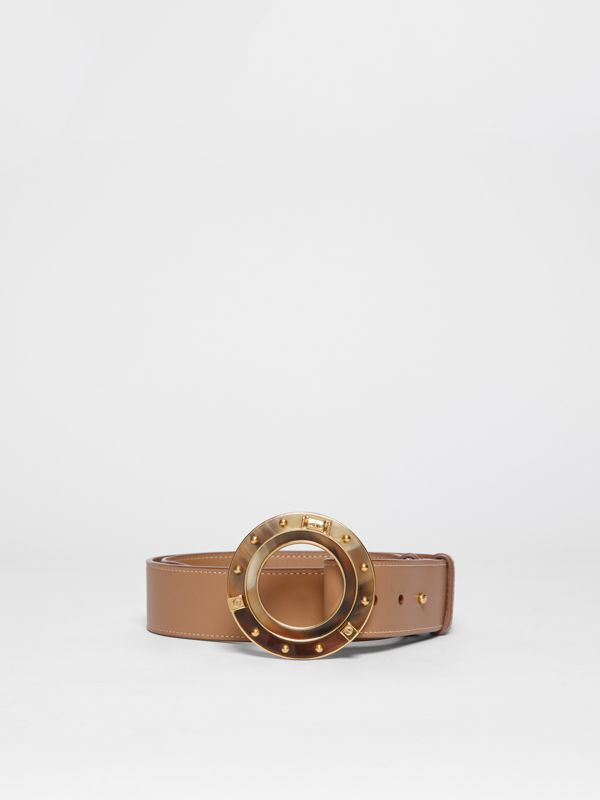Porthole Buckle Leather Belt in Light Camel - Women | Burberry - cell image 2