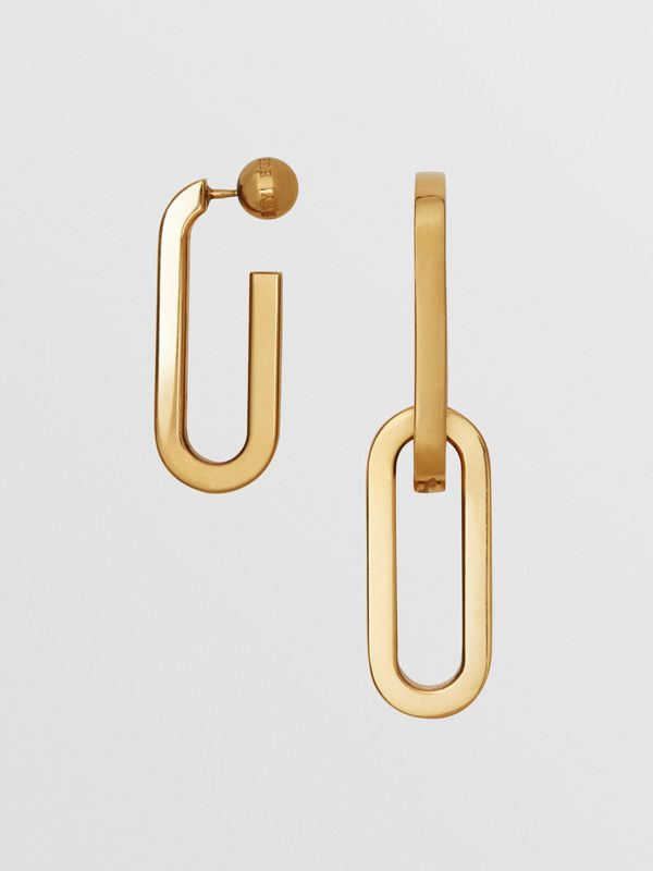 Gold-plated Link Drop Earrings in Light - Women | Burberry - cell image 3