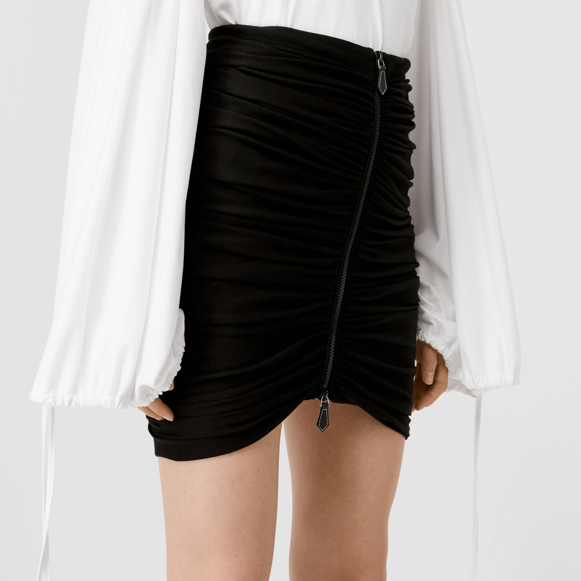 Ruched Jersey Mini Skirt in Black - Women | Burberry - gallery image 1