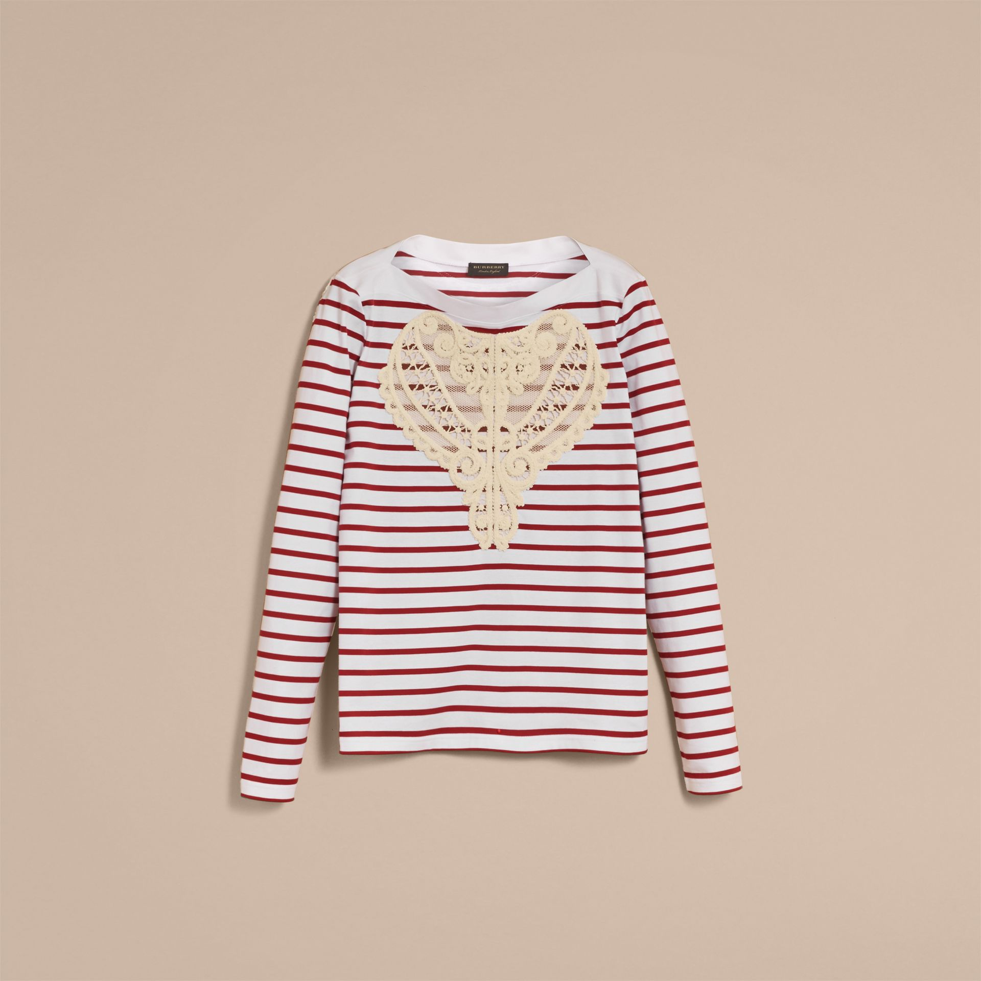 Unisex Breton Stripe Cotton Top with Lace Appliqué - Women | Burberry - gallery image 4