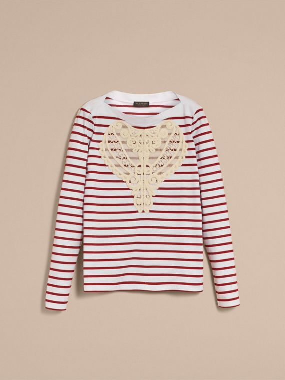 Unisex Breton Stripe Cotton Top with Lace Appliqué in Parade Red - Women | Burberry - cell image 3