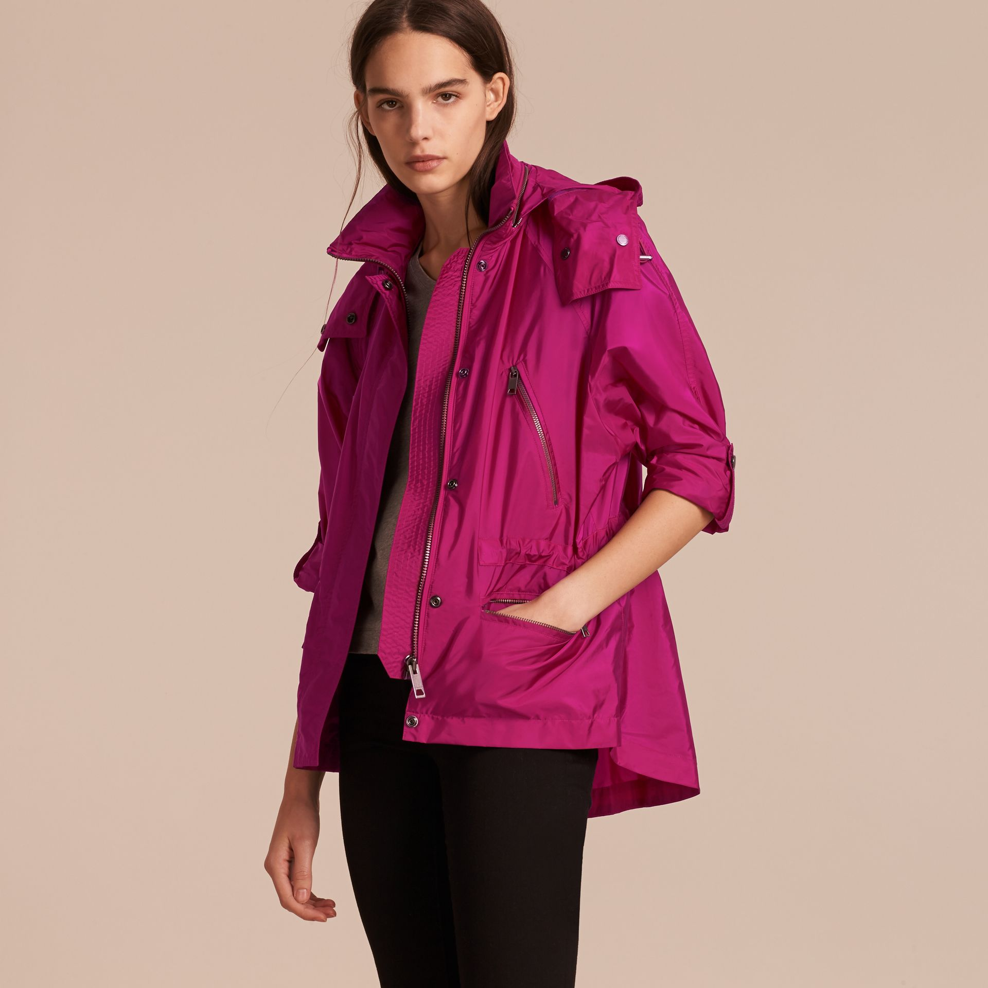 Showerproof Parka Jacket with Packaway Hood in Fuchsia - gallery image 7