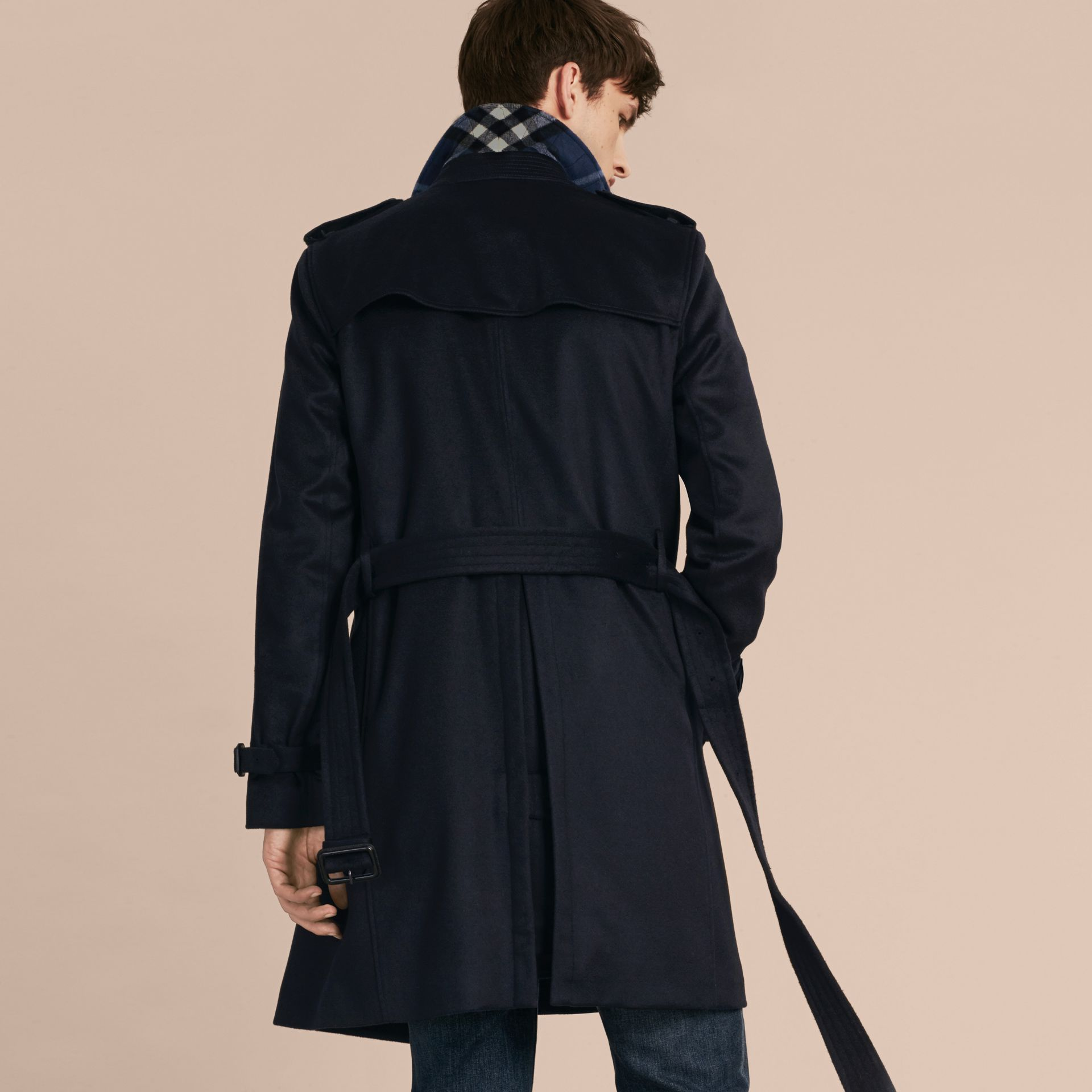 Navy Cashmere Trench Coat Navy - gallery image 3