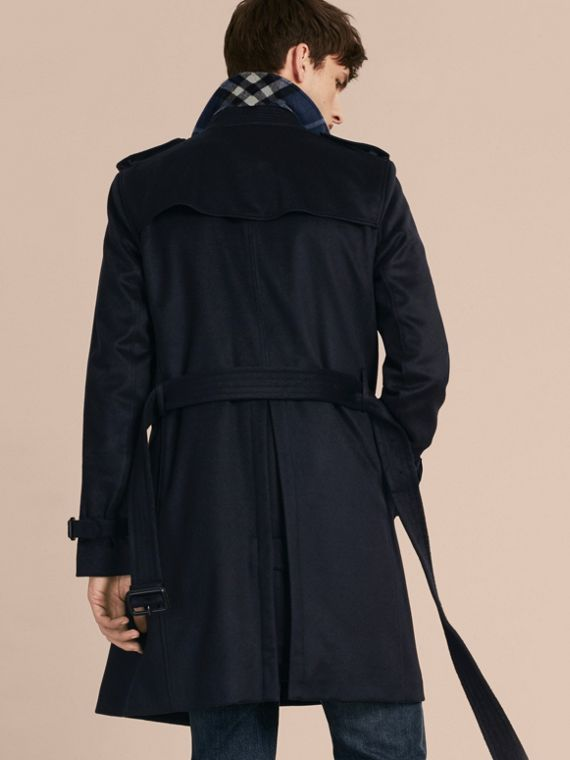 Navy Trench coat in cashmere Navy - cell image 2