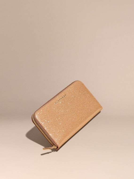 Glitter Patent London Leather Ziparound Wallet Camel/gold