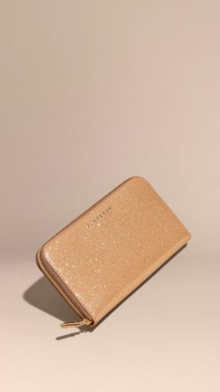 Glitter Patent London Leather Ziparound Wallet