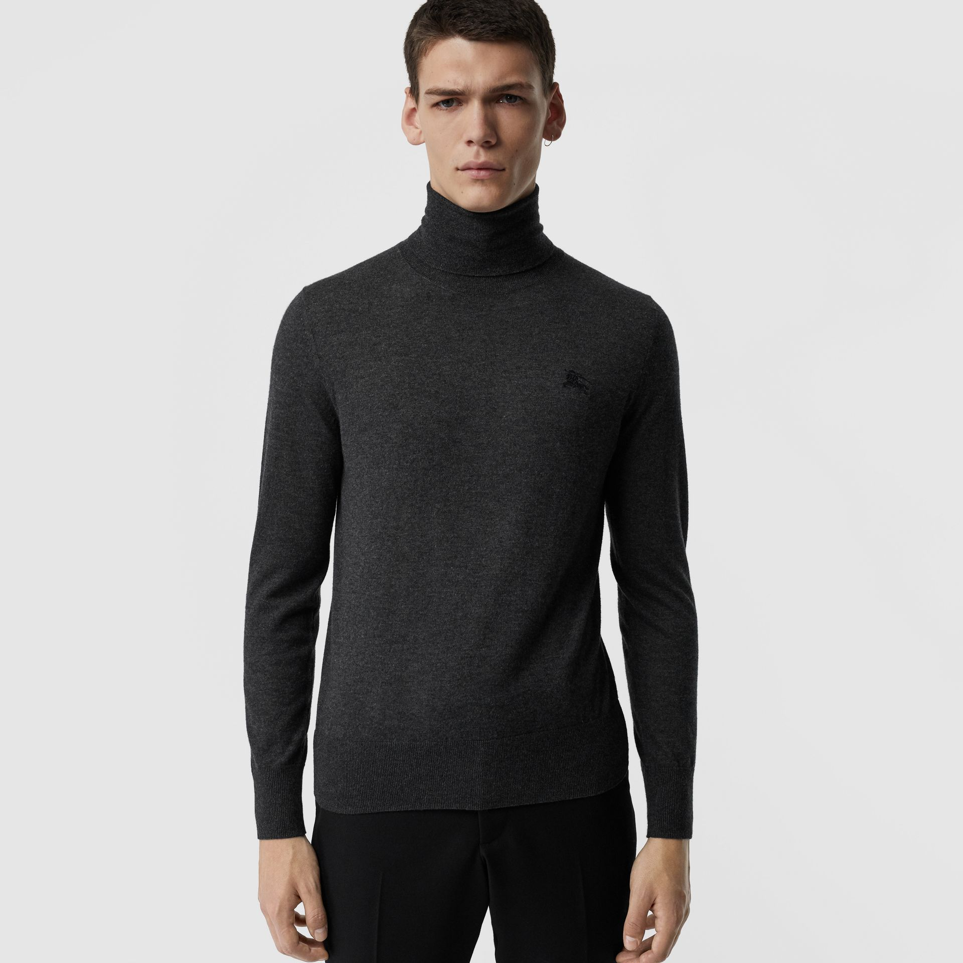 Cashmere Silk Roll-neck Sweater in Charcoal - Men | Burberry United Kingdom - gallery image 0