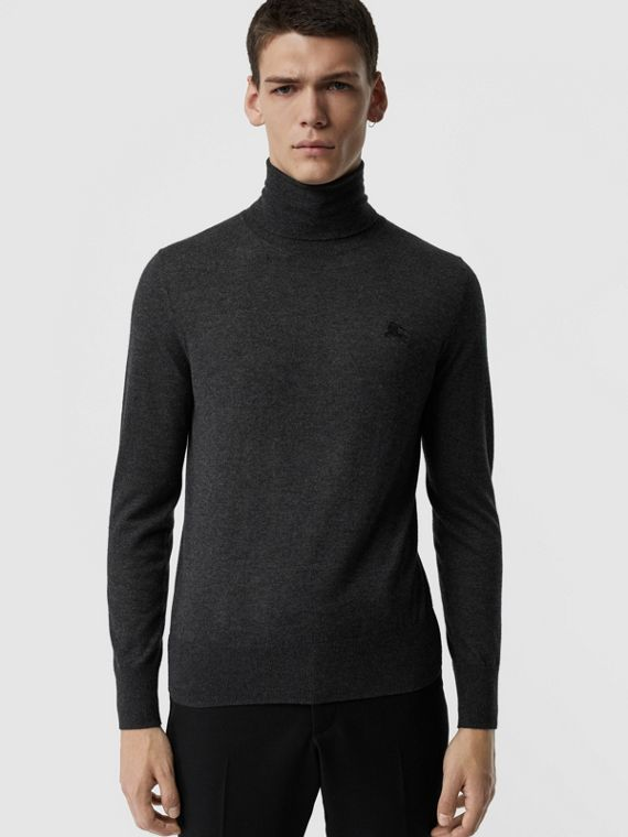 Cashmere Silk Roll-neck Sweater in Charcoal