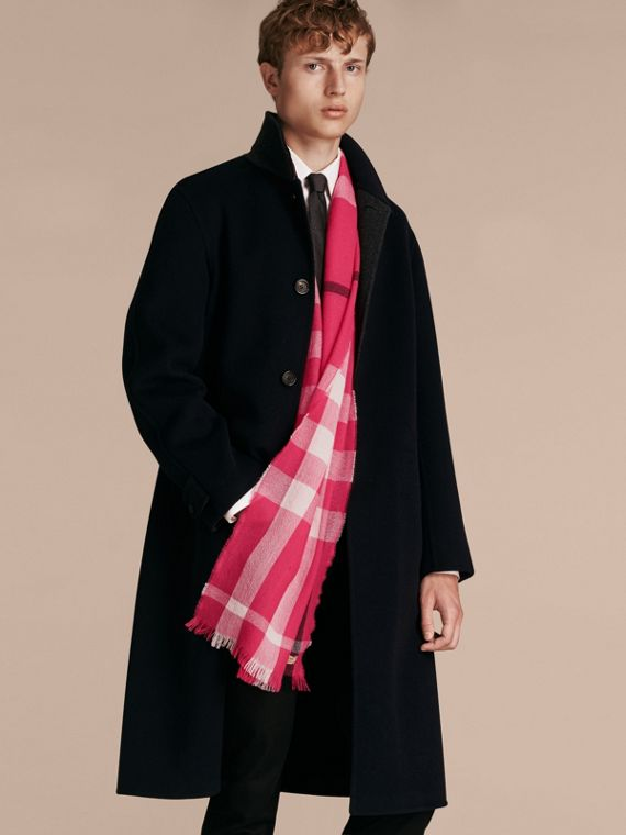 Bright pink Lightweight Check Wool Cashmere Scarf Bright Pink - cell image 2
