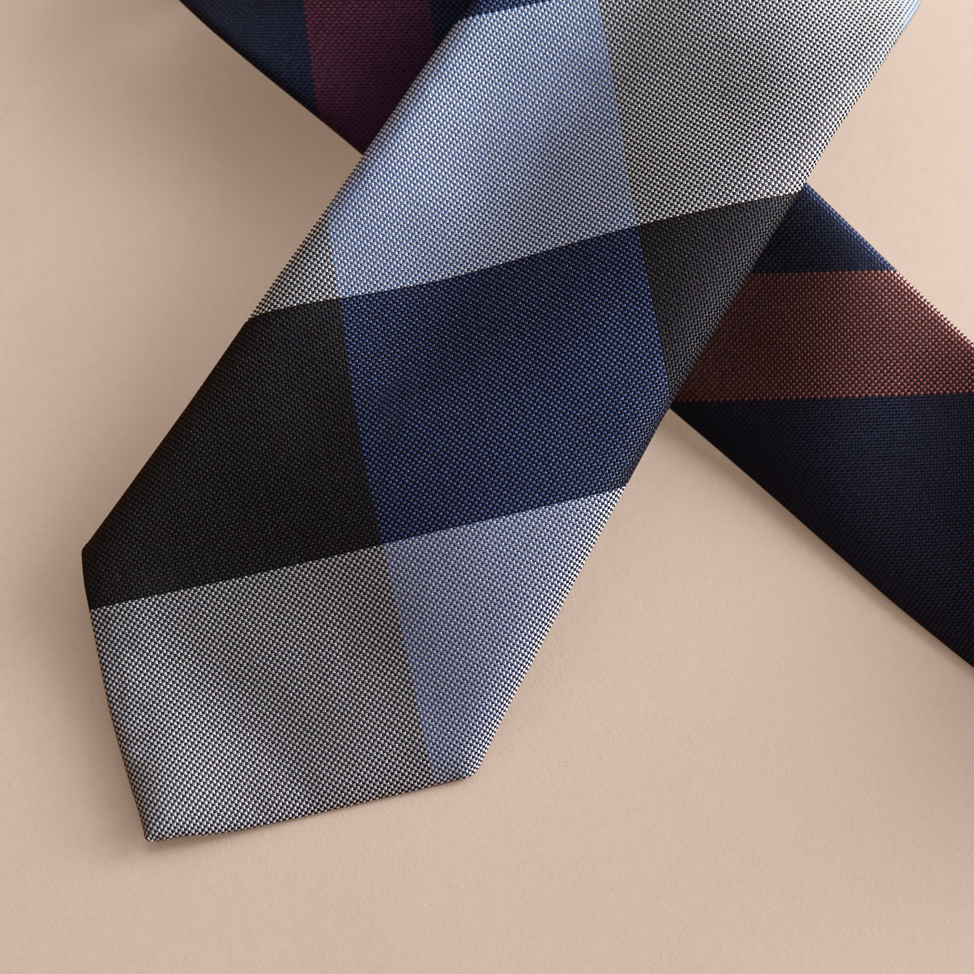 Modern Cut Check Silk Tie in Navy - Men | Burberry Canada - gallery image 2