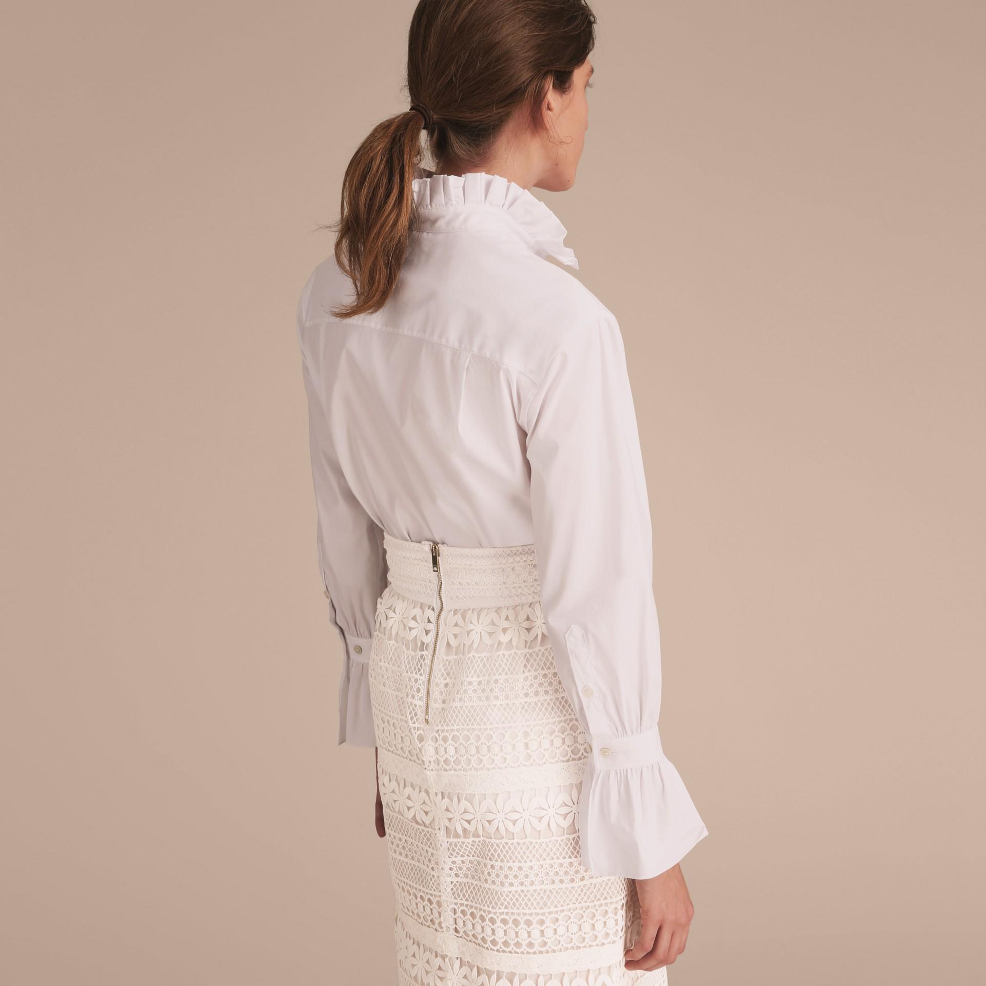 White Ruffle Detail Stretch Cotton Poplin Shirt - gallery image 3