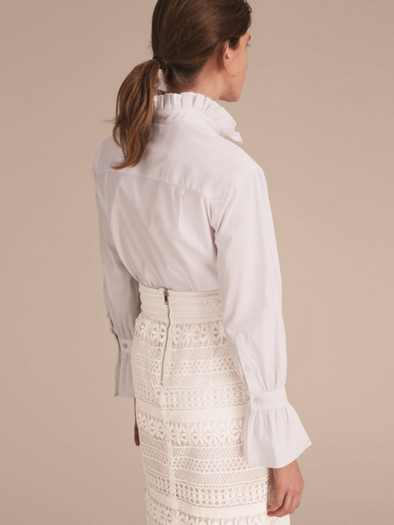 White Ruffle Detail Stretch Cotton Poplin Shirt - cell image 2