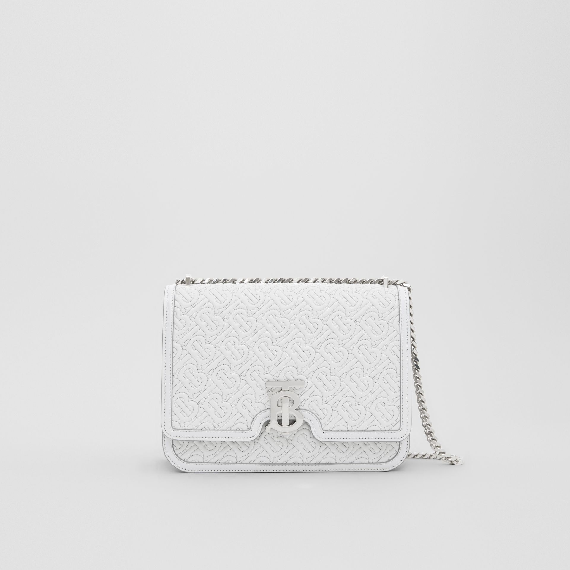 Medium Quilted Monogram Lambskin TB Bag in Light Pebble Grey - Women | Burberry United States - gallery image 0