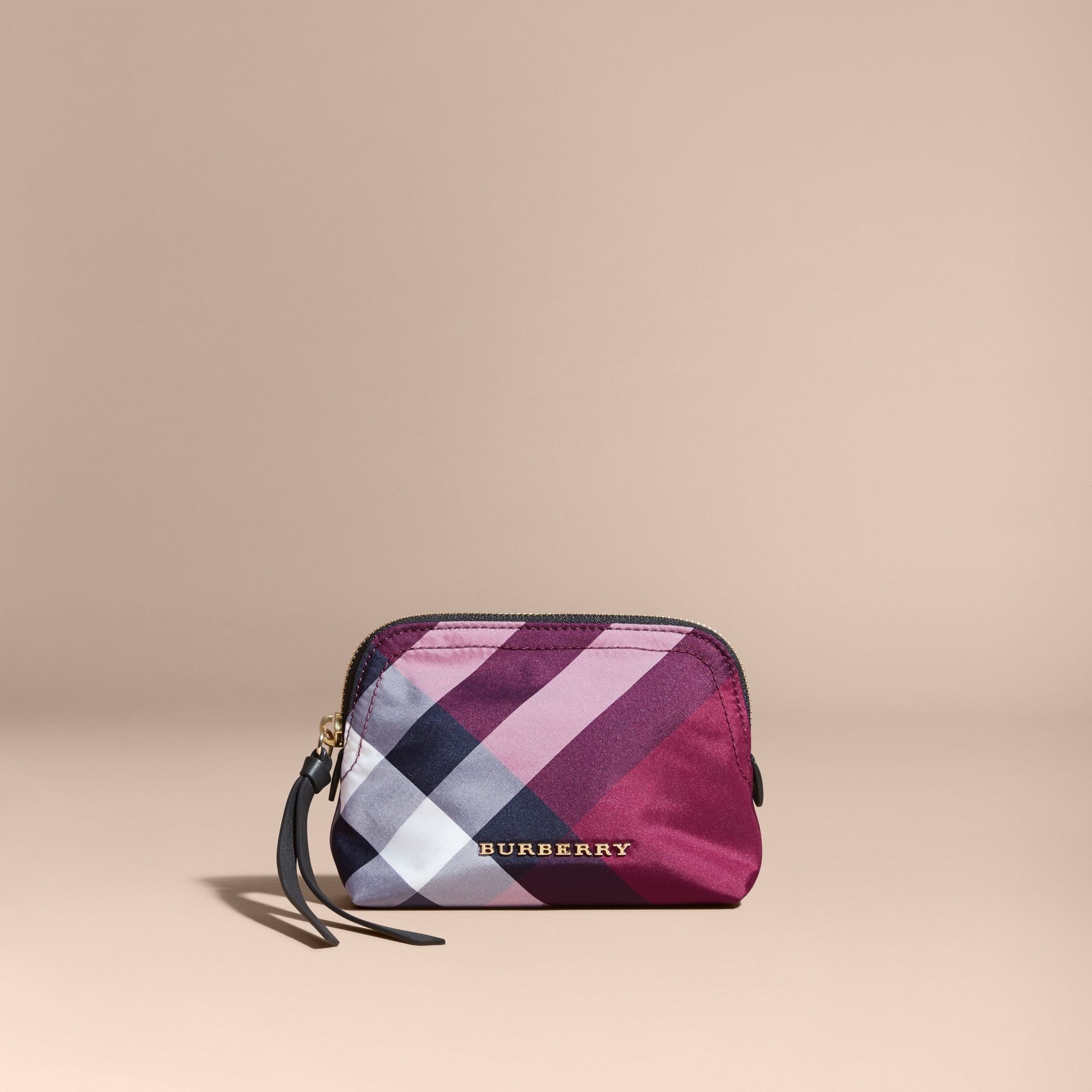 Small Zip-top Check Pouch Plum - gallery image 5