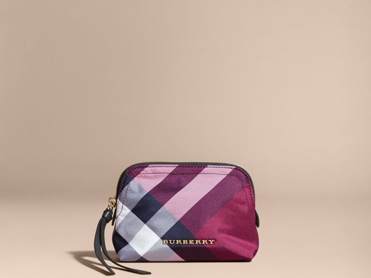 Small Zip-top Check Pouch Plum - cell image 4