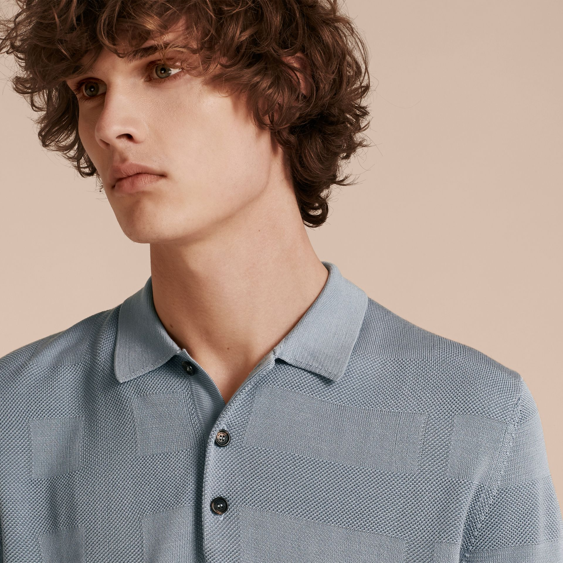 Check Jacquard Piqué Silk Cotton Polo Shirt in Slate Blue - Men | Burberry - gallery image 5