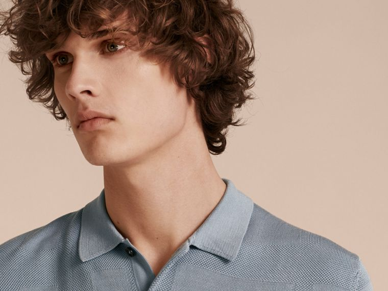 Check Jacquard Piqué Silk Cotton Polo Shirt in Slate Blue - Men | Burberry - cell image 4