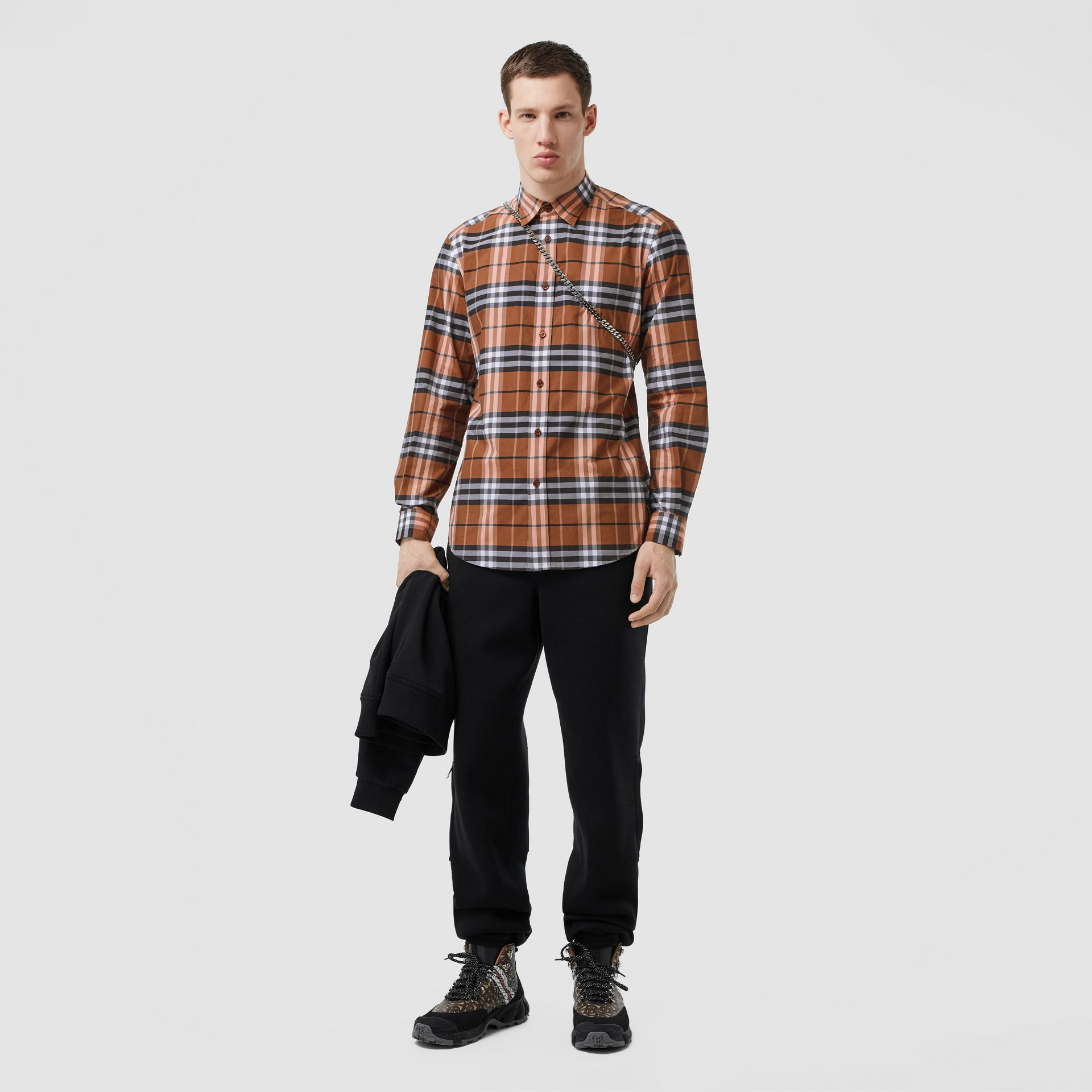 Vintage Check Cotton Poplin Shirt in Clementine - Men | Burberry - gallery image 0
