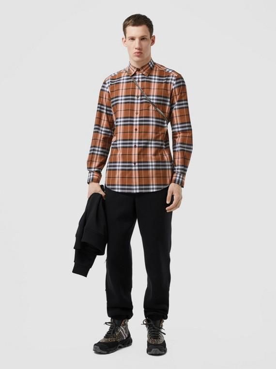 Vintage Check Cotton Poplin Shirt in Clementine