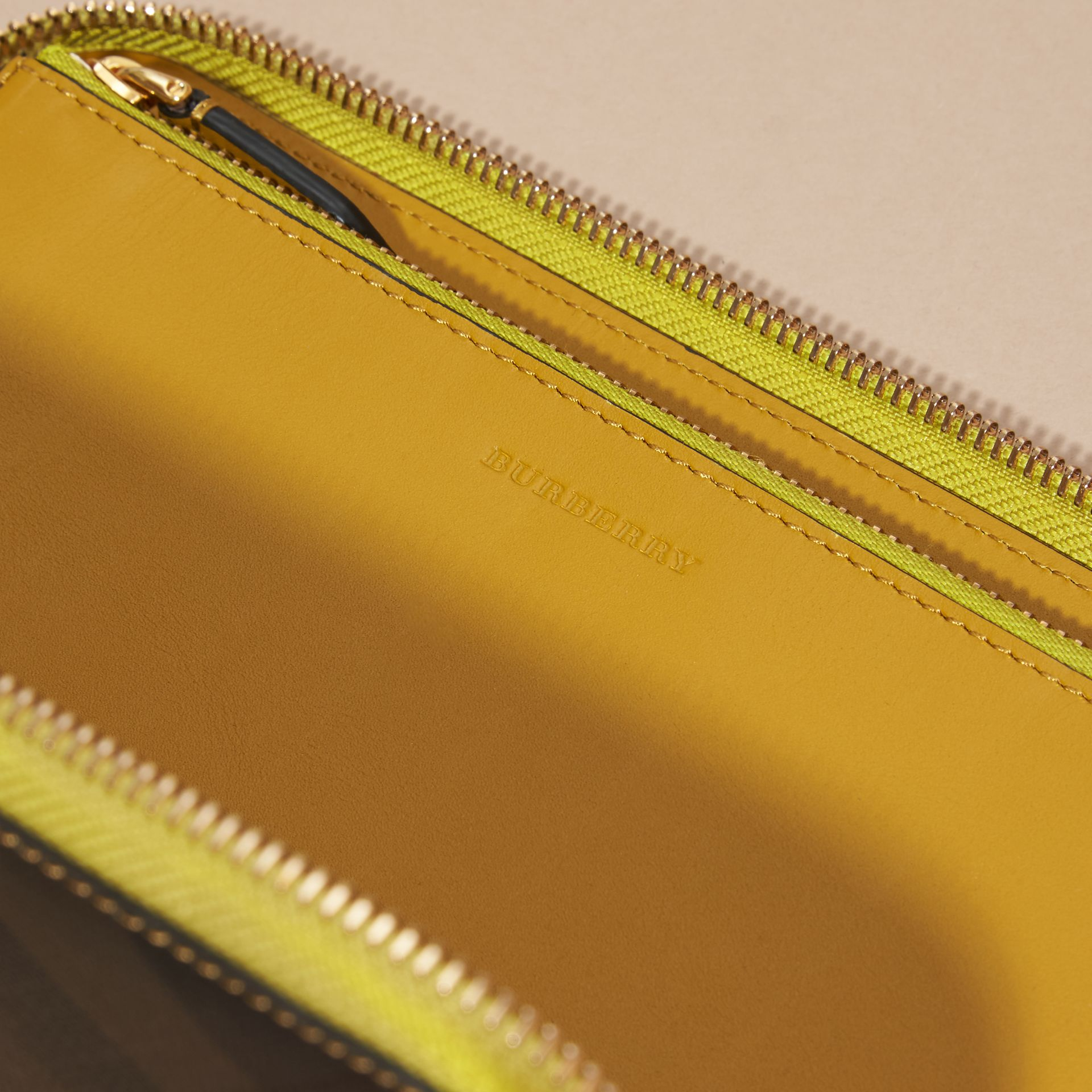 Larch yellow Contrast Trim London Check Ziparound Wallet - gallery image 2