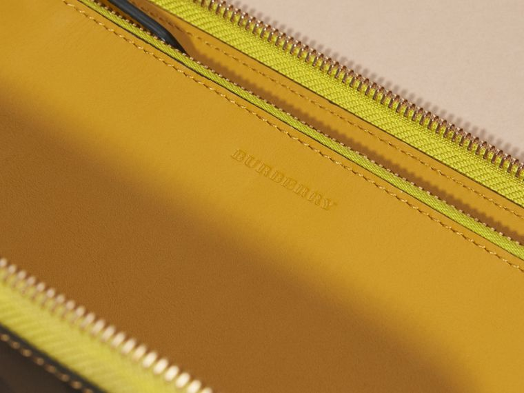Larch yellow Contrast Trim London Check Ziparound Wallet - cell image 1