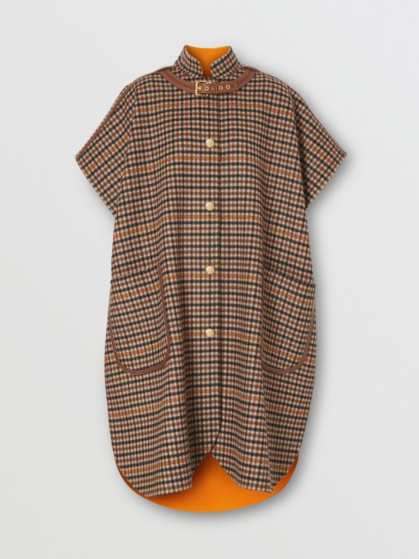 Double-faced Check Wool Cape in Bright Orange - Women | Burberry United Kingdom - cell image 3