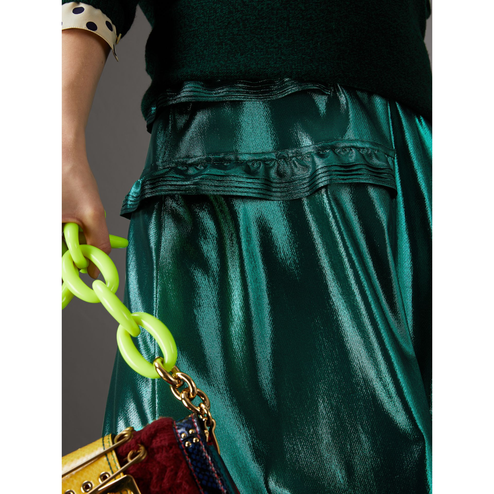 Ruffle Detail Lamé Skirt – Online Exclusive in Turquoise - Women | Burberry - gallery image 1