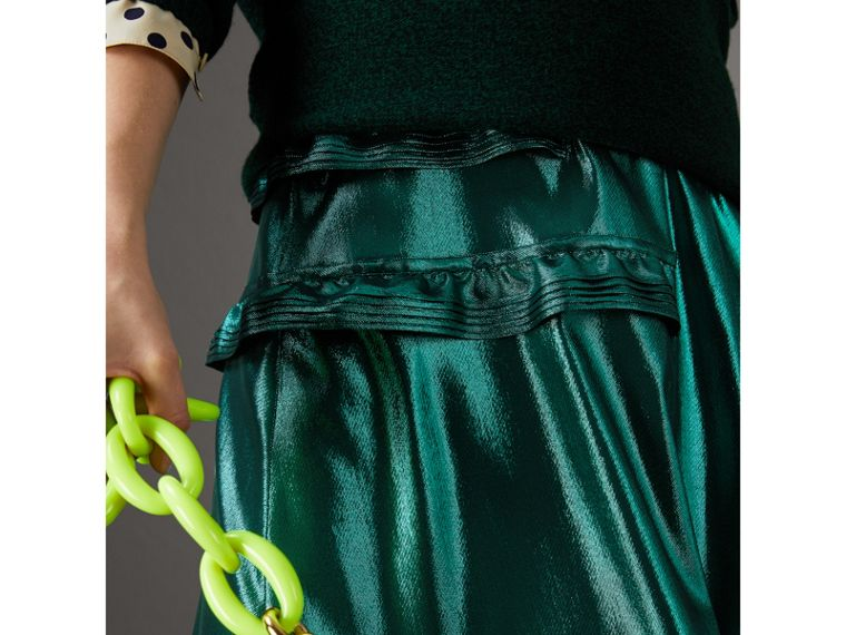 Ruffle Detail Lamé Skirt – Online Exclusive in Turquoise - Women | Burberry - cell image 1