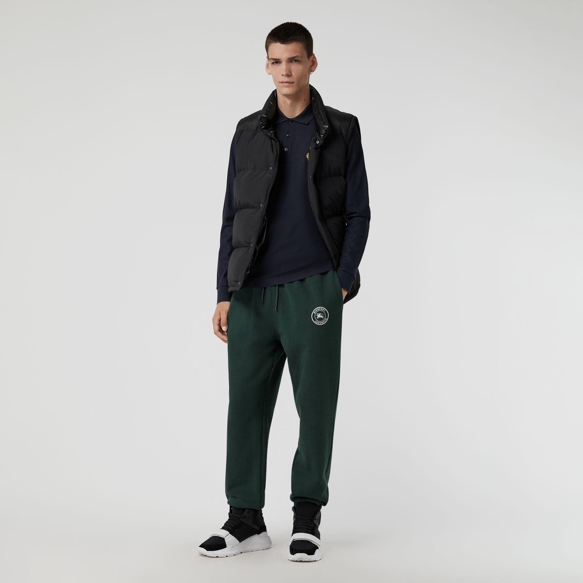Embroidered Logo Jersey Trackpants in Forest Green - Men | Burberry Australia - gallery image 0