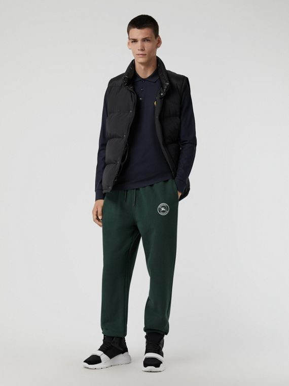 Embroidered Logo Jersey Track Pants in Forest Green