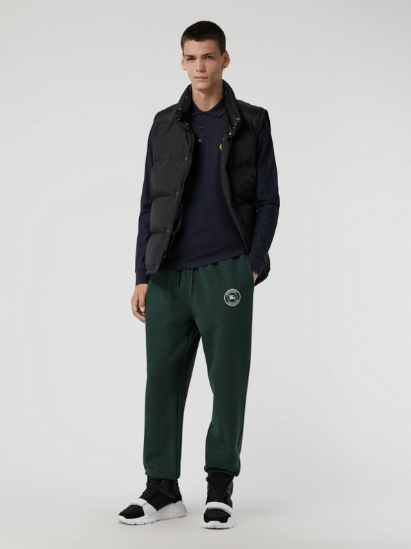 Embroidered Logo Jersey Trackpants in Forest Green