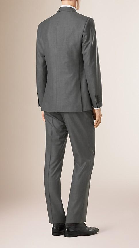 Mid grey melange Classic Fit Wool Part-canvas Suit - Image 2