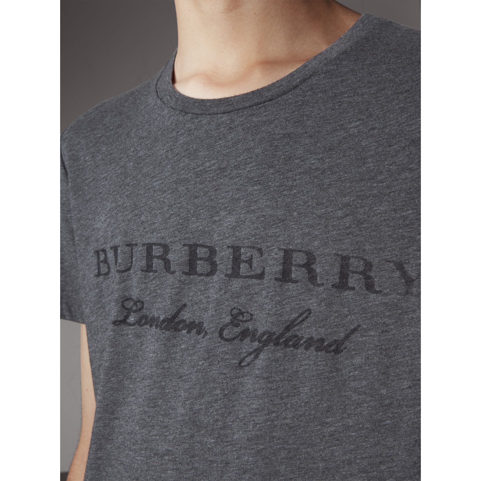 Devoré Cotton Jersey T-shirt in Mid Grey Melange - Men | Burberry United Kingdom - gallery image 2