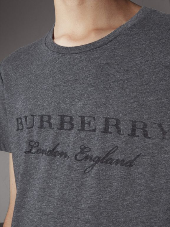 Devoré Cotton Jersey T-shirt in Mid Grey Melange - Men | Burberry - cell image 1
