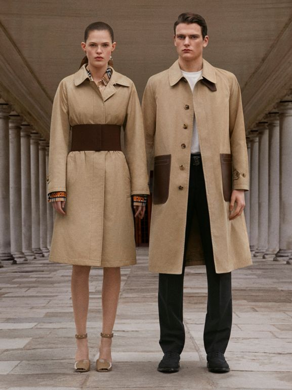 Leather Detail Cotton Gabardine Car Coat in Honey | Burberry United Kingdom - cell image 1