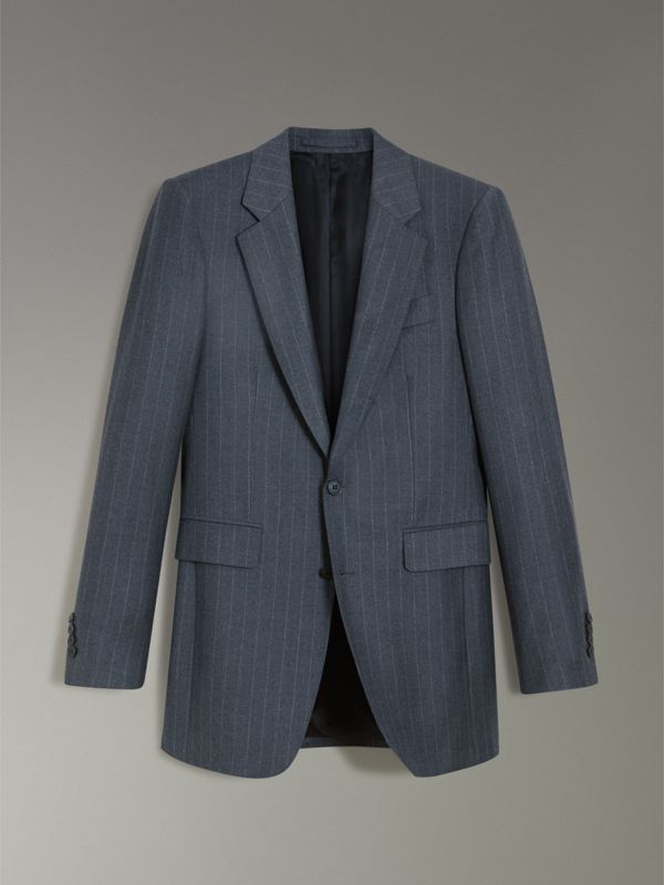 Slim Fit Pinstriped Wool Cashmere Suit in Mid Grey - Men | Burberry - cell image 3