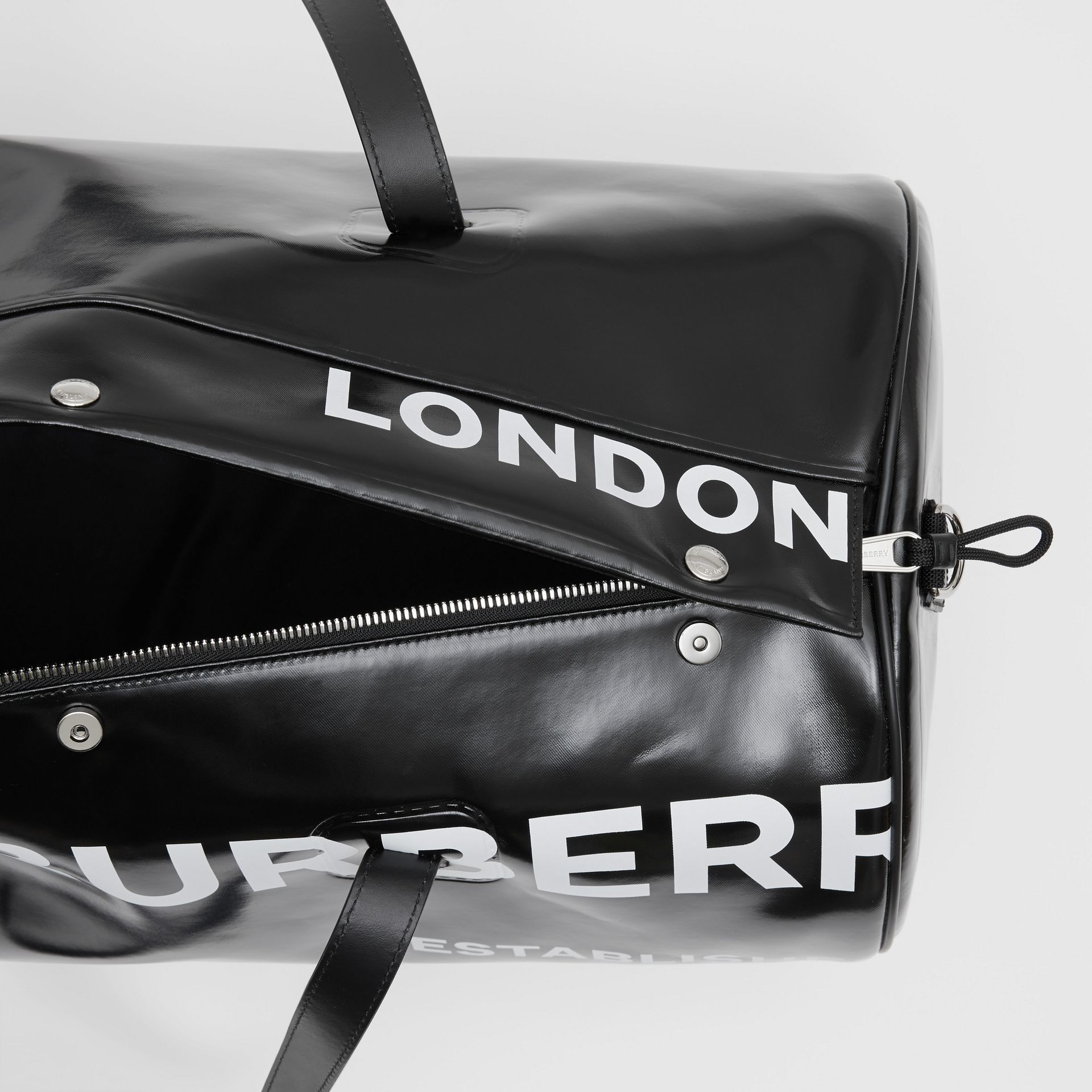 Large Horseferry Print Coated Canvas Barrel Bag in Black | Burberry United Kingdom - gallery image 4