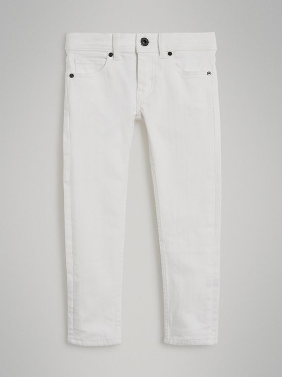 Skinny Fit Stretch Jeans in White - Girl | Burberry - cell image 2