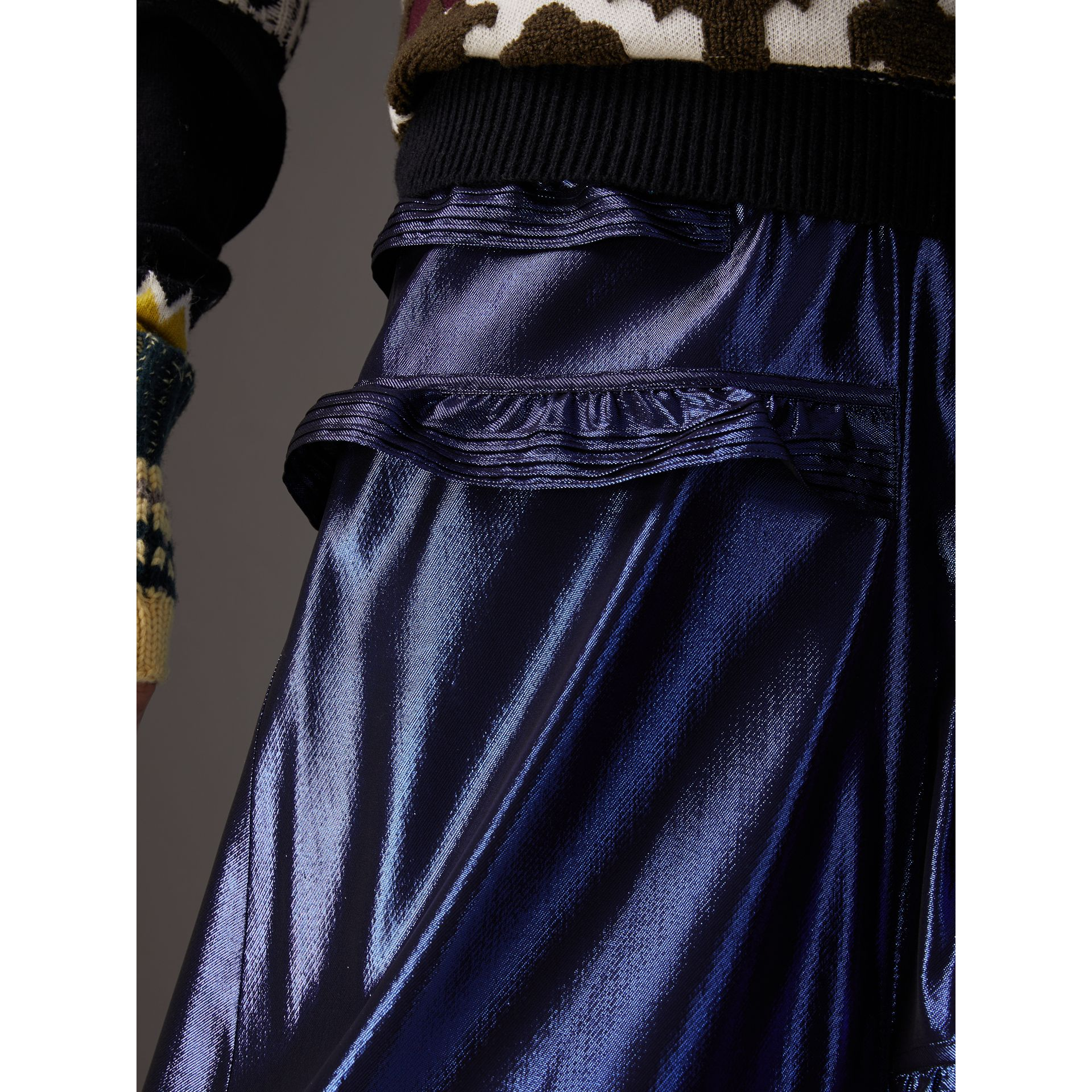 Ruffle Detail Lamé Skirt in Bright Navy - Women | Burberry - gallery image 1