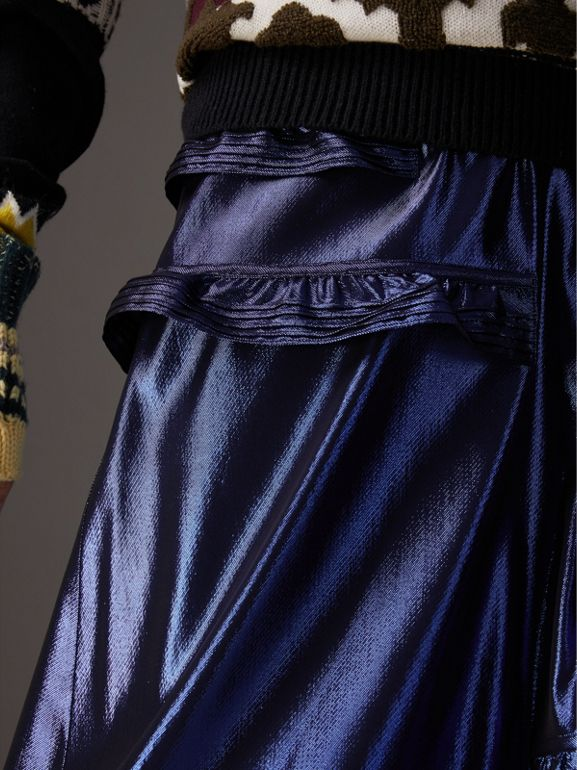 Ruffle Detail Lamé Skirt in Bright Navy - Women | Burberry United Kingdom - cell image 1