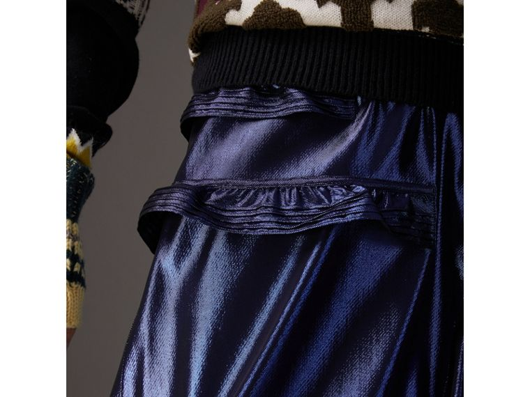 Ruffle Detail Lamé Skirt in Bright Navy - Women | Burberry Canada - cell image 1