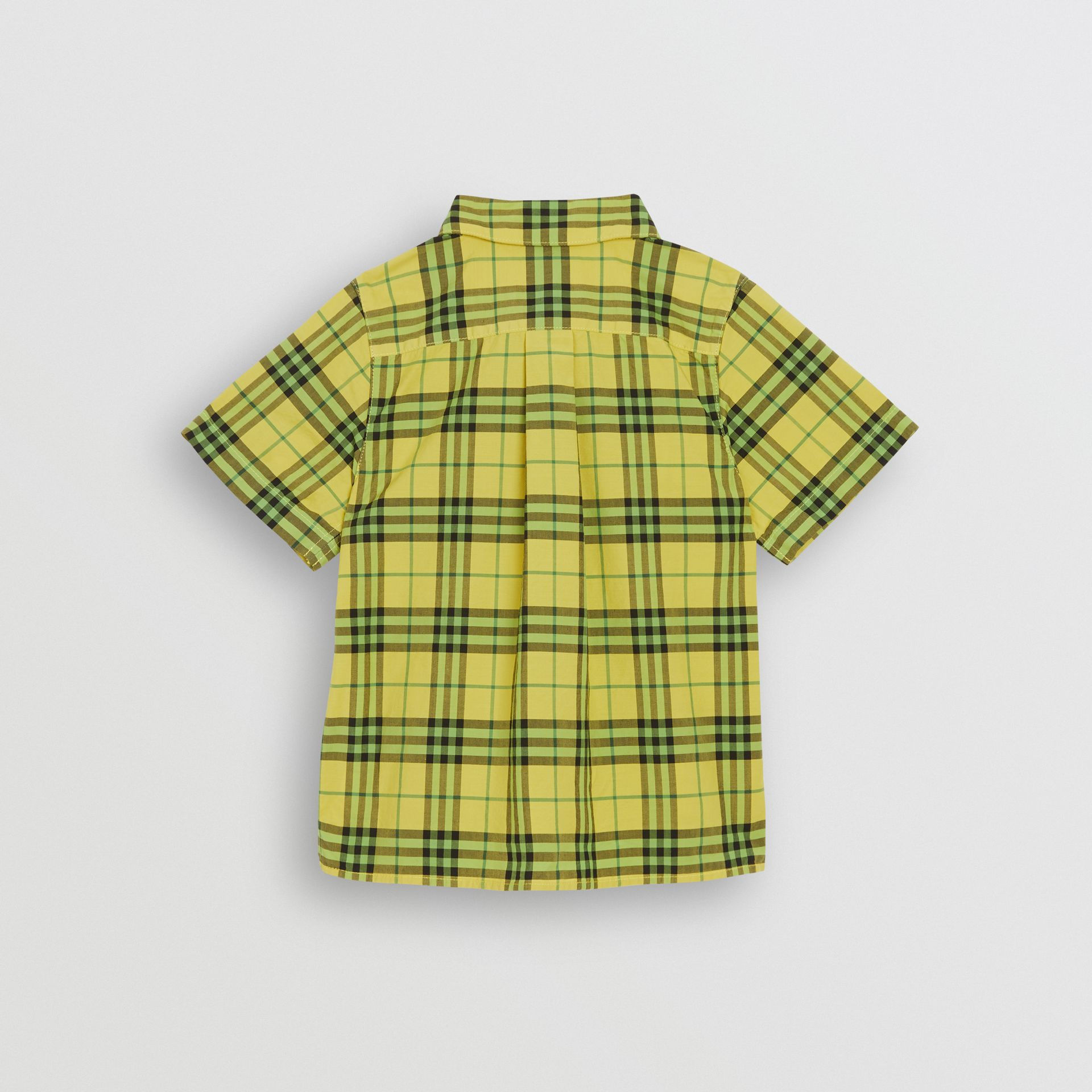 Short-sleeve Check Cotton Shirt in Citron | Burberry - gallery image 3