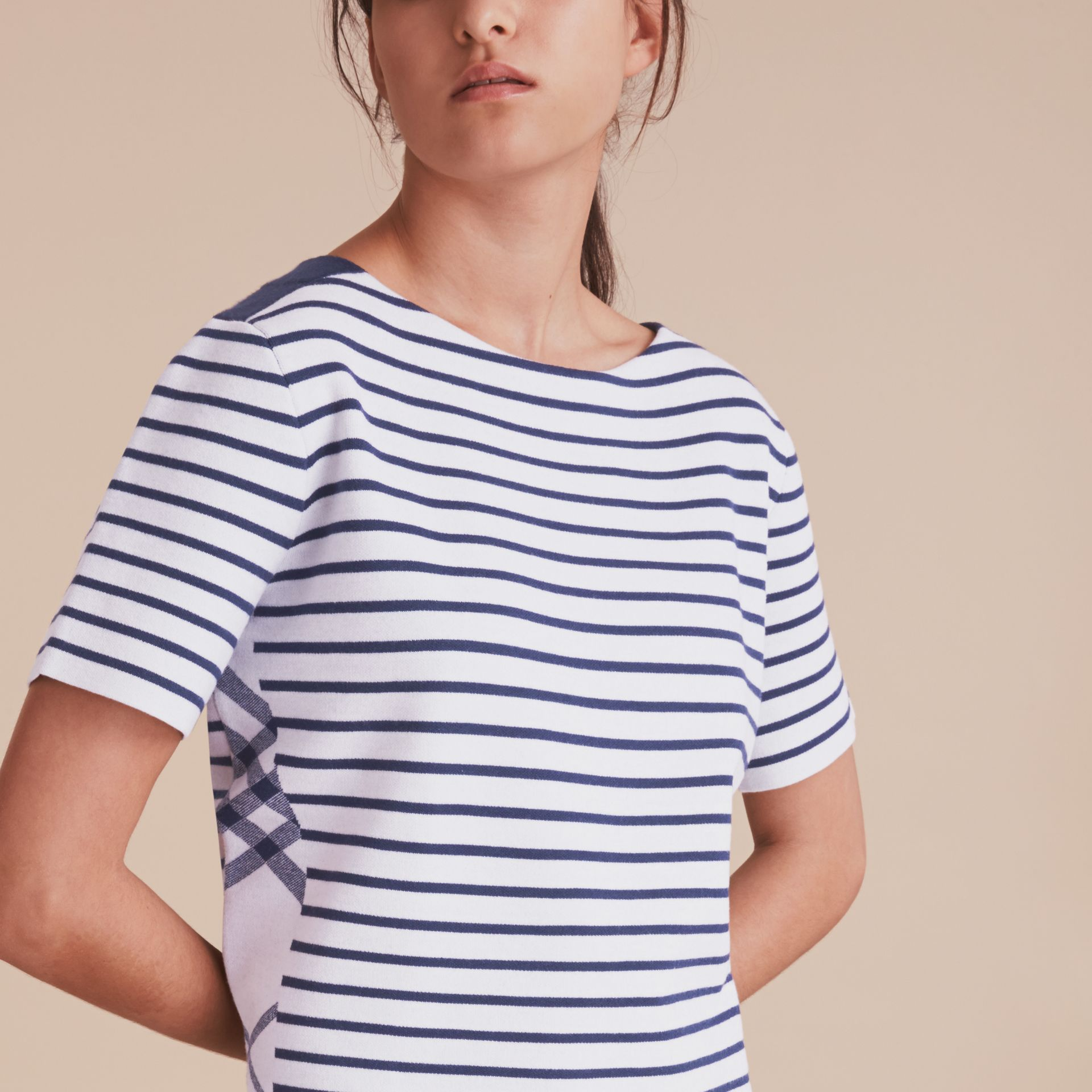 Check and Stripe Knitted Wool Blend T-shirt - gallery image 5