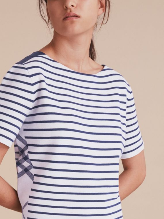 Check and Stripe Wool Blend T-shirt Bright Navy