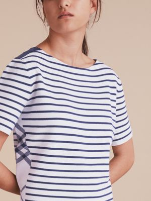 Check and Stripe Knitted Wool Blend T-shirt