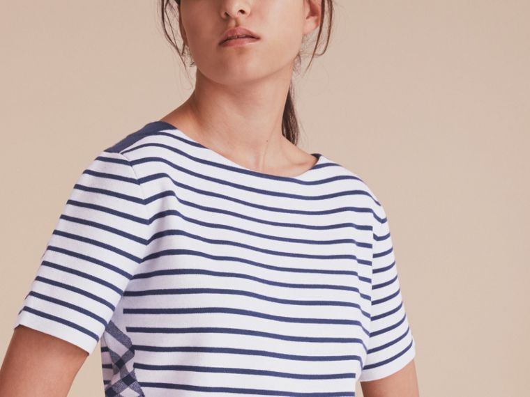 Check and Stripe Wool Blend T-shirt Bright Navy - cell image 4